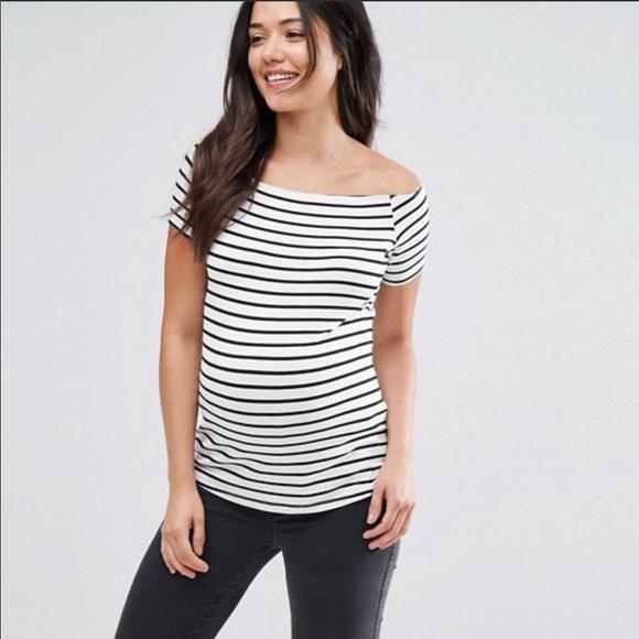 41f3865e0d4 ASOS Maternity Tops - ASOS Maternity Off Shoulder Top in Stripe